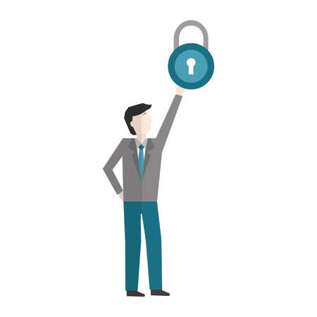 businessman with padlock avatar character vector illustration design Stock fotó - 154794018