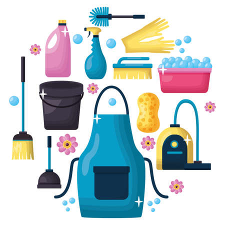 spring cleaning tools vacuum brush plunger broom vector illustration