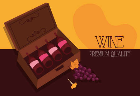 wine premium quality poster with bottles and grapes vector illustration