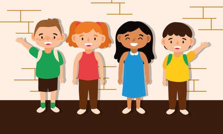 little students kids avatars characters vector illustration design 일러스트