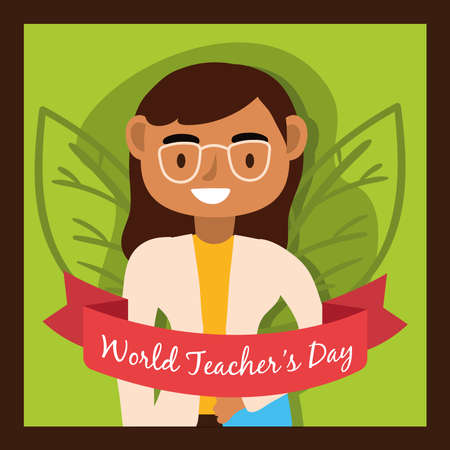 teacher female worker with eyeglasses character vector illustration design