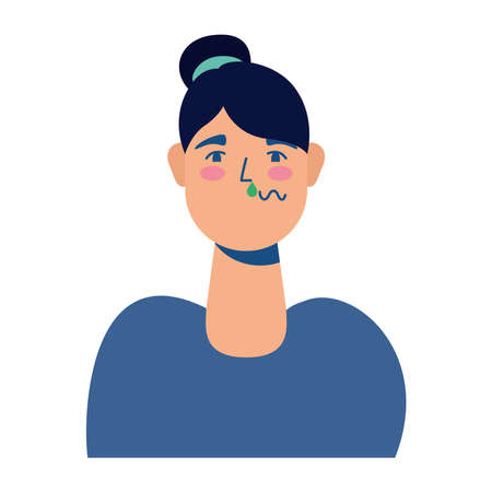 young woman sick colorful character vector illustration design Ilustração