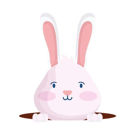 cute easter little rabbit in hole character vector illustration design Vector Illustratie