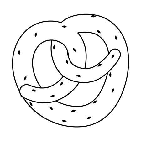 pretzel pastry bakery food line style icon vector illustration design