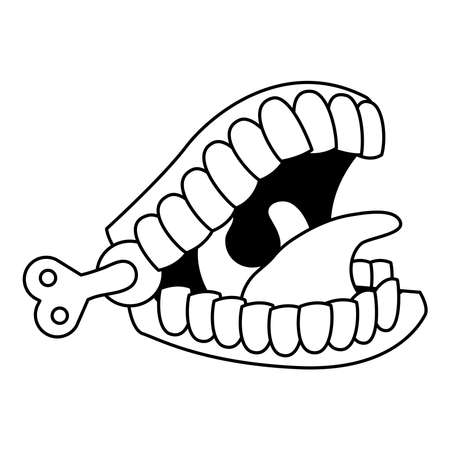 funny mouth fools day accessory line style icon vector illustration design Vettoriali