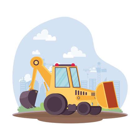 construction excavator vehicle in workplace scene vector illustration design Vettoriali