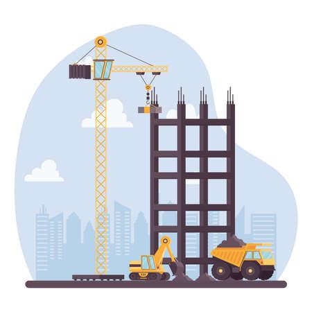 construction excavator and dump with crane vehicles vector illustration design Vettoriali
