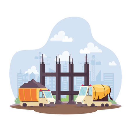 construction dump and concrete mixer vehicles in workplace scene vector illustration design