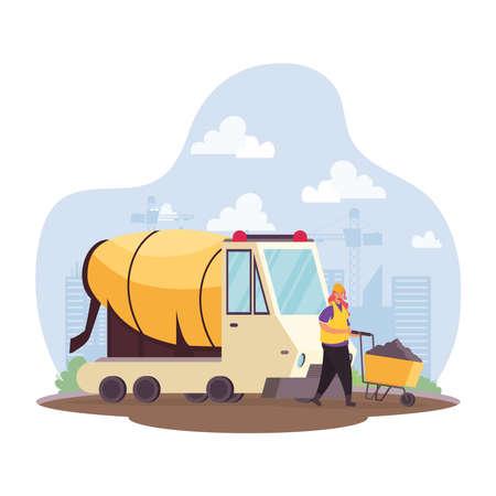 construction concrete mixer vehicle and builder in workplace scene vector illustration design Vettoriali