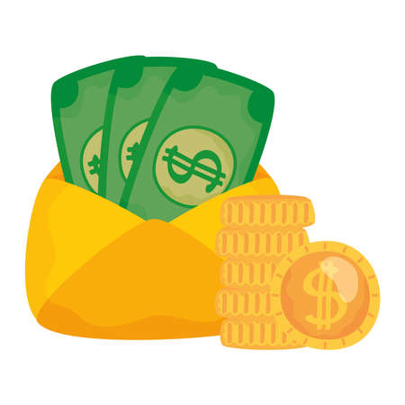 bills inside envelope and coins isolated icon Vector illustration