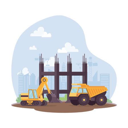 construction dump and excavator vehicles in workplace scene vector illustration design