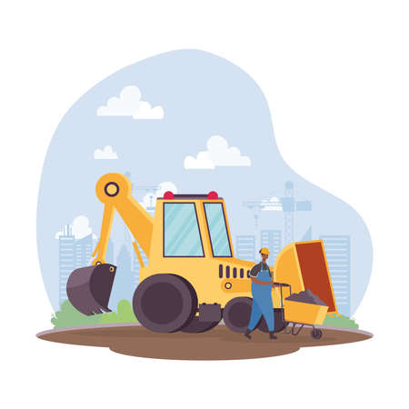 construction excavator vehicle and afro builder in workplace scene vector illustration design Vettoriali