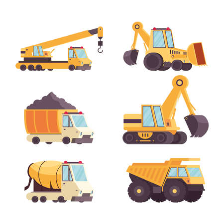 six construction vehicles equipment set collection icons vector illustration design