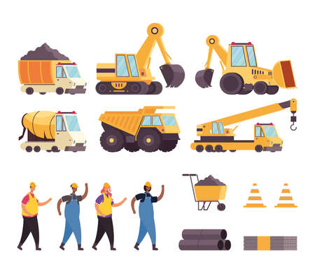 bundle of construction vehicles and tools with workers vector illustration design Vector Illustration