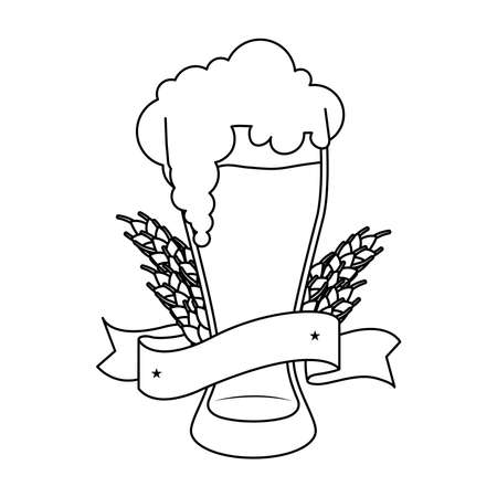 fresh beer in glass with barley spikes and ribbon line style icon vector illustration design
