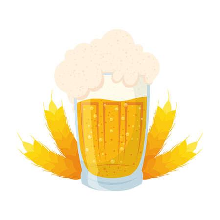fresh beer in jar with spikes of barley vector illustration design