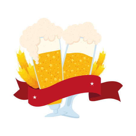 fresh beers in cups with barley spikes and ribbon icon vector illustration design