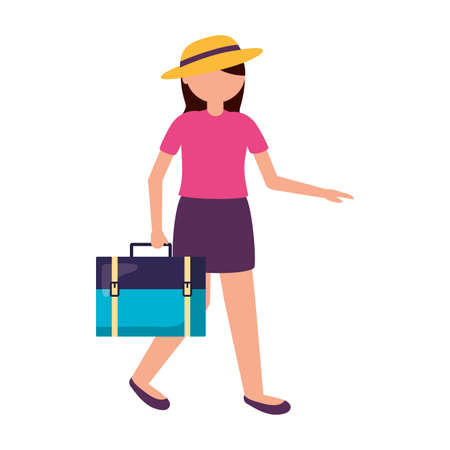 Traveler woman design, trip airport vacation journey holiday transport and voyage theme Vector illustration