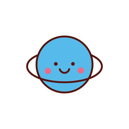 cute saturn planet kawaii comic character icon vector illustration design Ilustração