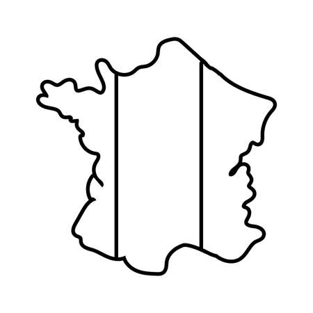 france flag and map line style vector illustration design Illusztráció