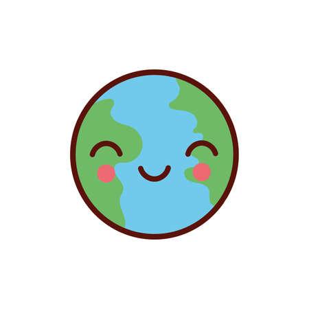 cute earth planet kawaii comic character icon vector illustration design Ilustração