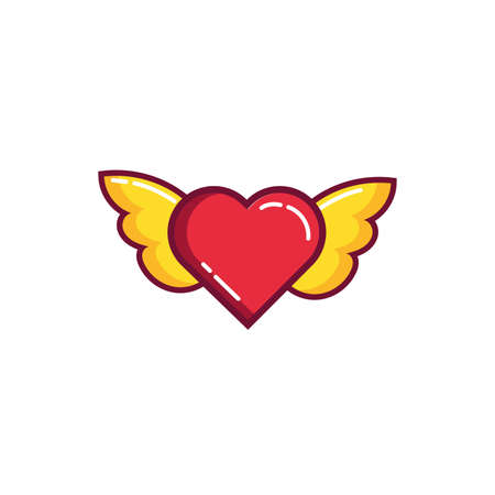 happy valentines day heart with wings line and fill style vector illustration design