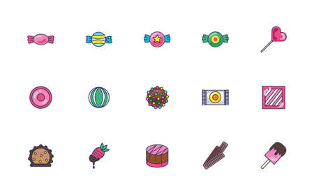 bundle of sweet set icons vector illustration design