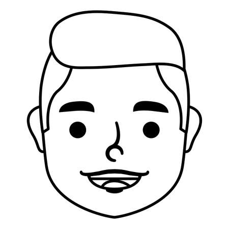 young man head character icon vector illustration design