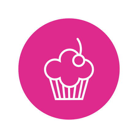 birthday sweet cupcake block and line style vector illustration