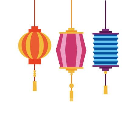 China lanterns design, Culture asia traditional art famous oriental and landmark tratheme Vector illustration Vetores