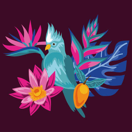 exotic flowers and leaves with bird vector illustration design