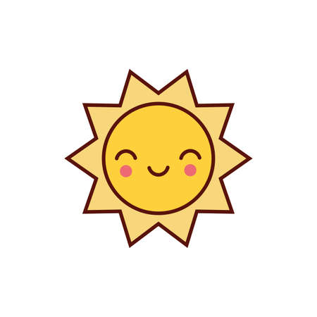 cute sun comic character icon vector illustration design