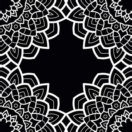 decorative floral monochrome mandala ethnicity frame vector illustration design