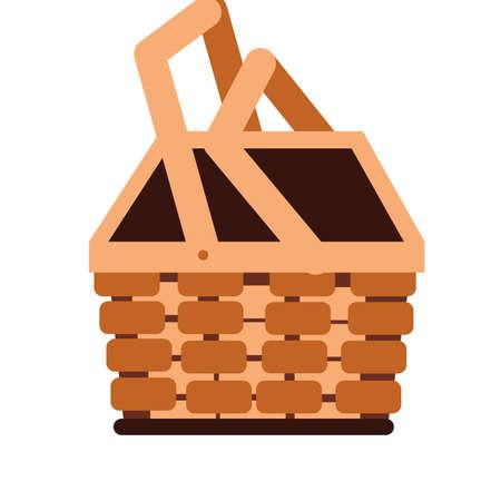 basket straw seasonal isolated icon vector illustration design 向量圖像