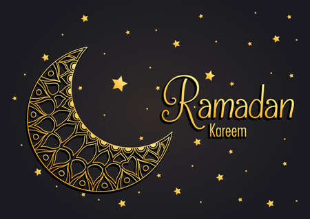 Ramadan kareem card with lettering and golden moon vector illustration design