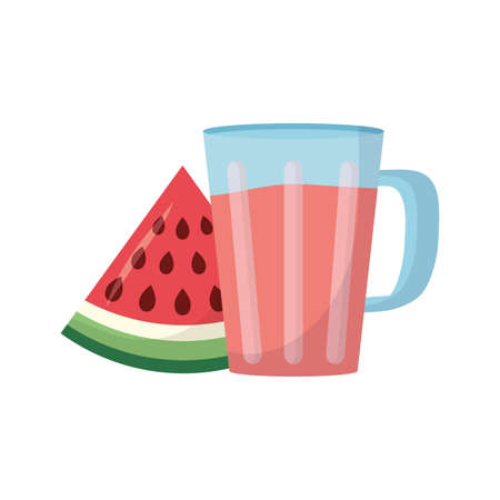 Watermelon juice design, Drink glass beverage fresh food and healthy theme Vector illustration