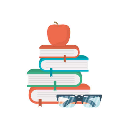school text books with eyeglasses and apple education icons vector illustration design