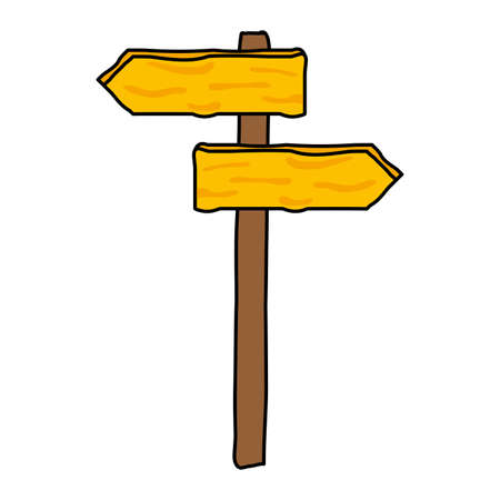 wooden placard guide signal on white background vector illustration