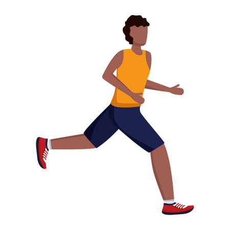 man in sport clothes running activity vector illustration Vetores