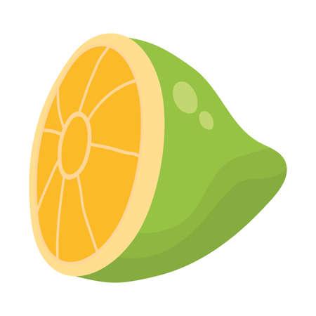fresh lemon citrus fruit half icon vector illustration design