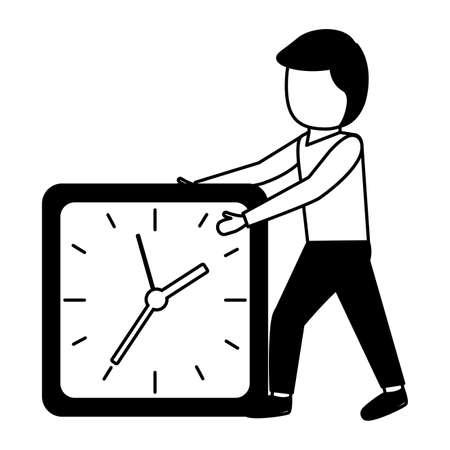 elegant young businessman with alarm clock vector illustration design Illusztráció