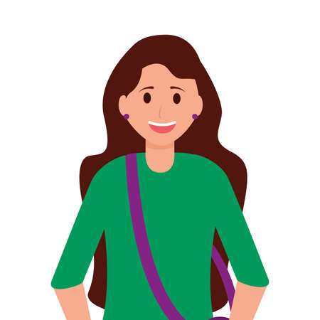 happy young woman character on white background vector illustration Stock fotó - 155010448