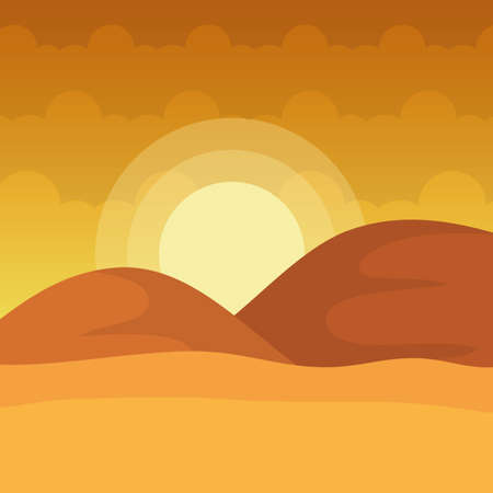 landscape desert dune sand sunny day vector illustration
