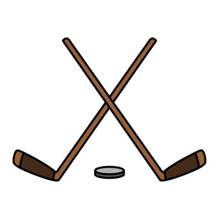 hockey stick and puck sport vector illustration Stock fotó - 155010184