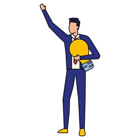businessman with bulb business work vector illustration Stock fotó - 155009723