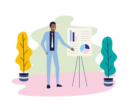 businessman presentation board strategy business work vector illustration Illusztráció