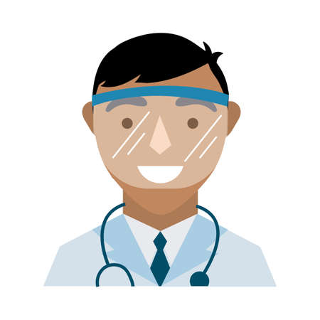 doctor with stethoscope and face glass protection flat style vector illustration design Stock fotó - 155009465