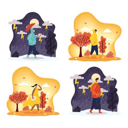 interracial young people wearing medical masks in seasonal scenes vector illustration design Stock fotó - 155009551