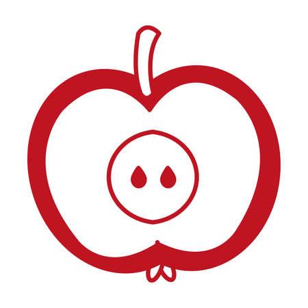 apple half autumn fruit seasonal isolated icon vector illustration design