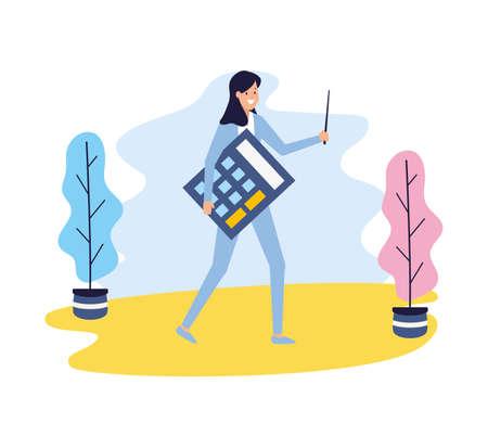 businesswoman holding calculator financial business work vector illustration Stock fotó - 155009560